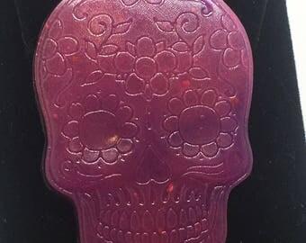 Pink/purple sugar skull earrings