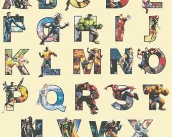 "marvel alphabet Counted Cross Stitch marvel abc Pattern pdf chart point de croix embroidery needlework - 27.57"" x 34.71"" - L1554"