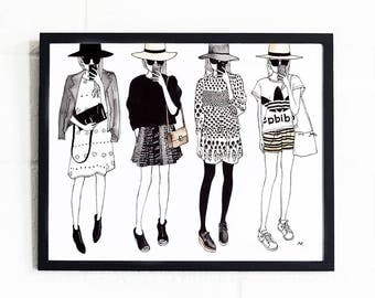 Fashion Wall Art / Fashion Illustration Print / Fashion Sketch / Chic Wall Art Print / Gift for Her / Fashion Poster / Best Friend Gift