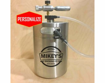 Personalized Mini Keg Beer Growler with tapping dispenser system, LARGE 5L, KEG, Custom design, growler, birthday, anniversary gift