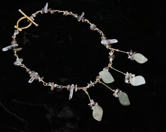 Forest Spirit serpentine labradorite quartz necklace