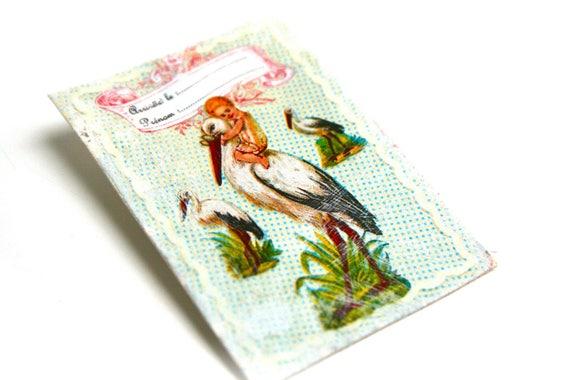 Brooch vintage rustic country print on canvas coated vintage Stork