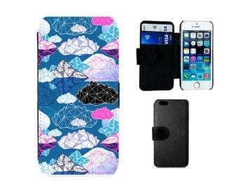 Wallet case iPhone SE 5S 6S 6 Plus, X 8 7  5C 5 4S, Samsung Galaxy Flip S8 Plus, S7 S6 Edge, S4 S5 Mini, cloud meteorology phone cover. F350