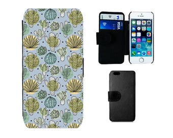 Wallet case Samsung Galaxy S8 S7 S6 Edge Plus, S4, S5 Mini, iPhone wallet X, 8, 7, 6S, 6, Plus, SE, 5S, 5C, 5, 4S, cactus cacti gifts. F377