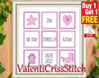 Counted Cross Stitch Pattern Baby Cirl,Cross Stitch Pattern, Birth Announcement Cross Stitch Pattern Instant Download # sp 85