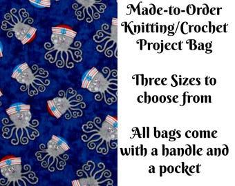 Anchors Away Octopus in Navy, Knitting Project Bag, Crochet Bag, Cross Stitch, Zippered Bag, Knitting Organizer