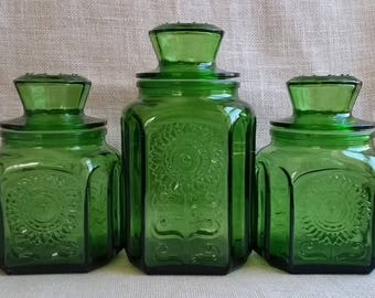 Wheaton Green Glass Cannisters Set Of 3 Vintage Wheaton Cannisters 1970s Glass  Storage Jars Cannister Set