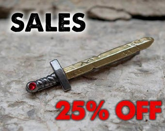 SALES!! Tie Clip Cartoon Sword  with red swarovski. 25% OFF