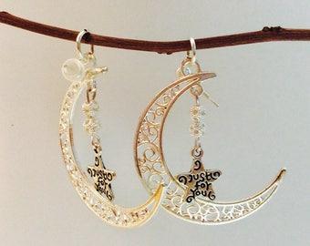 Moon star earrings, star moon earrings, celestial jewelry, ooak original, JeriAielloartstore, made in America, just for you, back to school