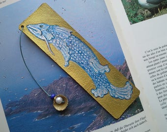 "Bookmark leather ""fish wave"""