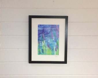 Lavender Print ~ Lavender art ~ embroidery art ~ flower prints wall art ~ A4 art print ~ purple wall art ~ green wall art
