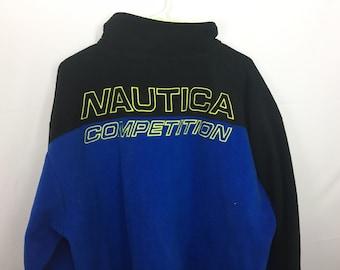 Nautica Competition Embroidered Logo Back Quarterzip Large