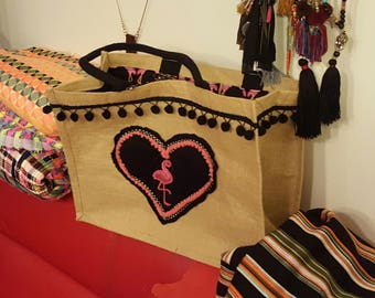 "Straw Beach Tote ""FlamingoBeach"" bag black and pink"