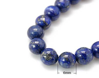30 beads of Lapis Lazuli natural round 6mm