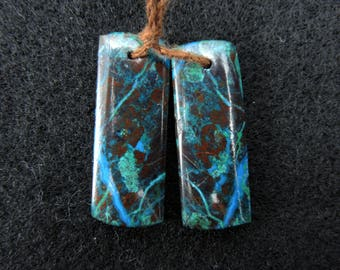 Earth View~ Natural Chrysocolla Drilled Earring Pair Beads
