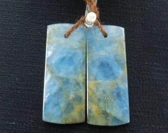 Ocean Shallows~ Natural Blue Calcite Drilled Rectangle Earring Pair E58