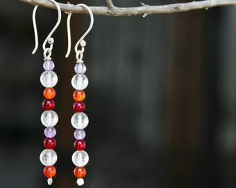 Long crystal earrings, Long natural stone earrings, Sterling silver hook, Colorful earrings, Natural crystal earrings Handmade earrings Gift