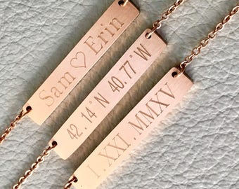 name bar necklace, name necklace, personalize necklace, rose gold necklace, bridesmaid gift, initial bar necklace, bar necklace