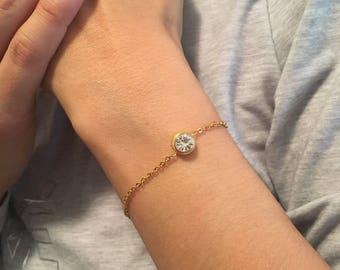 Gold CZ Bracelet, Silver CZ Bracele,stainless steel Round Cubic Zirconia bracelet,