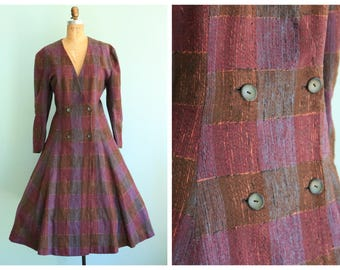 Vintage 1950's Purple Checkered Coat | Size Extra Large