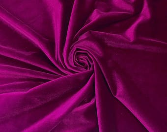 Magenta Stretch Velvet Fabric 60'' Wide by the Yard for Sewing Apparel Costumes Craft