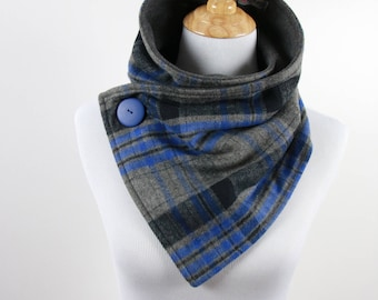 Gray and Blue Winter Scarf,  Fashion Scarves, Unisex, Accessory, Fleece lining, Holiday Gifts, Large blue button, Soft Scarf. Warm