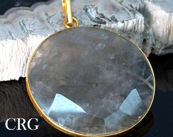 Gold Plated Faceted Round Smoky Quartz Pendant (FC50DG)
