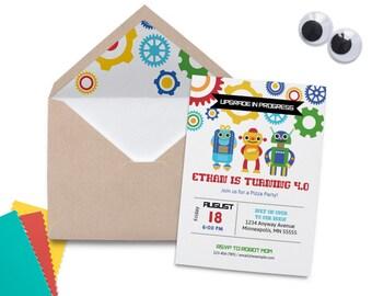 Robot Birthday Invitation. Kids Birthday Party. Robot Birthday Party. Personalized - Digital / Printable File