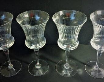 Set of 4 Vintage Crystal Marquisa by Sasaki Water Goblets