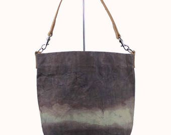 Waxed Canvas Bucket Bag - Brown-ish - Leather Strap