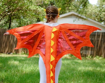 Dragon Wings Costume Fire Red Orange Yellow Kids Ages 1 to Adult