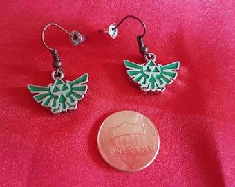 Hylian Crest Earrings. Zelda charm jewelry. Nintendo game lover gift. Skyward Sword. Breath of the Wild