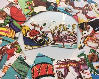 Vintage Christmas Gift Tags, Vintage Christmas GIft Ties, Vintage Christmas, Vintage Holiday Gift Tags, Vintage Book Tags, Upcycled Book
