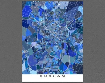 Durham Map Print, North Carolina, USA, City Maps, Duke University