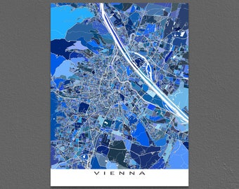 Vienna Map, Vienna Austria, City Map Art Print, Travel Maps