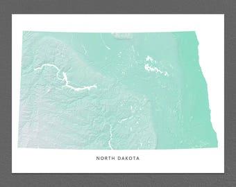 North Dakota Map Print, North Dakota State, Aqua, ND Landscape Art
