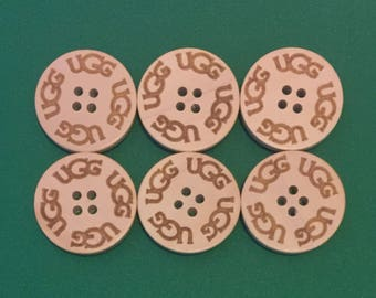 Six (6) UGG Replacement Boots Buttons - Natural/sand for Bailey Button, Triplet, and Cardy spare extra wooden