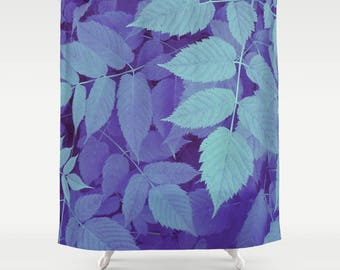 Blue Leaf Print Shower Curtain Blue Leaves Shower Curtain Leaf Print Shower Curtain Leaves Bathroom Decor Leaf Bathroom Shower Curtain