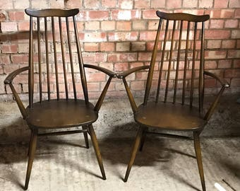 Pair Of Original Ercol Windsor Goldsmith 369A Carver Chairs