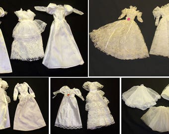 Vintage barbie clothes lot-Barbie doll wedding dress lot-doll wedding dress lot-old bride doll-barbie bride dress lot-old barbie clothes lot