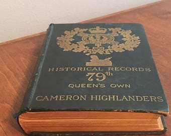 Historical Records 79th Queen's Own Cameron Highlanders 1887 Antique Book