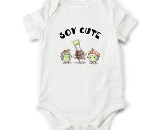 10% OFF SALE Soy Cute baby shower gift, Sushi baby bodysuit, Funny toddler shirt, Baby boy gift, Baby girl gift