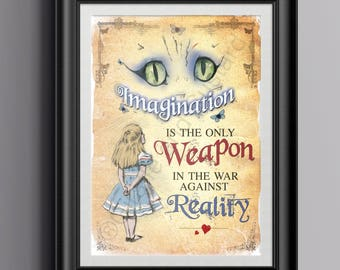 Alice in Wonderland Instant Download Wall Art - A4 Printable Poster - Mad Hatter Tea Party Imagination is the only Weapon Quote