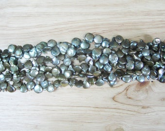 """Olive Green Freshwater Coin Pearl - 15"""" Strand (12mm)"""