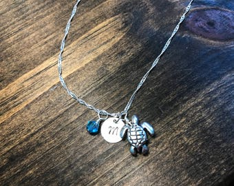 Custom Hand Stamped Nautical Sea Turtle Necklace