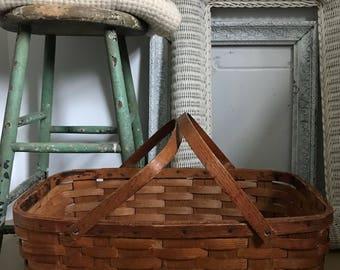 Vintage Picnic Basket Wood Splint Basket Farmhouse Decor Storage