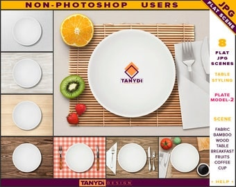 White Dinner Plate | Table Styled JPG Scenes P2-C1 | Non-Photoshop | Fabric Bamboo Wood Table | Breakfast Fruits Cutlery | Coffee Cup
