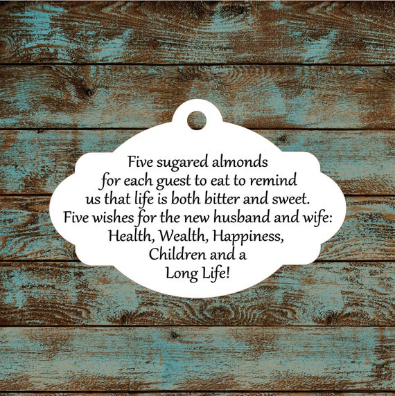 Favor Tags, Jordan Almond Favor Tags, Sugared Almond Favor Tags, Italian Wedding Favor Tags #611 Qty: 30 Tags