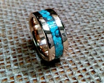 Turquoise Inlay Bronze Ring.   10mm Wide.