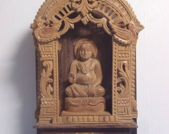 Vintage Rare hand carved wooden shrine Kwan Yin Goddess Of Mercy c.early 1900s
